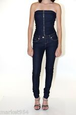 Women Strapless Denim jumpsuit Indigo Skinny Jeans Jumper LA designer Tube Zippe