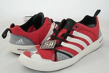 New 10 adidas Sport Climacool BOAT LACE Shoes Vivid Red White Gray CC Water