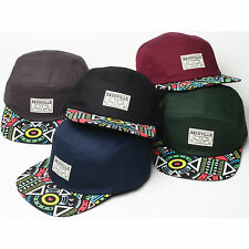 New Stylish Colorful Pattern Bill Design 5 Panel Camp Cap Flat Brim Hat H42