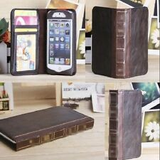Vintage Old BOOK Style Leather Card Case Cover Wallet for iPhone 4 4s 5 5s - Sun