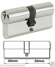 Euro Cylinder Door Lock Barrels 35-35 (70mm) Chrome Door Cylinder Lock Barrel