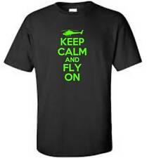 Keep Calm And Fly On T-Shirt Funny Humor Flying Helicopter Pilot Mens Tee