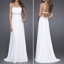 White Long Chiffon Formal Evening Party Ball Gown Prom Bridesmaid UK 8-18US 4-14