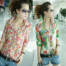 Women Colorful Floral Flower Print Shirt Turn-down Collar Chiffon Blouse Tops