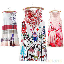 New Arrival Summer Sleeveless Owl Graphic Printed Cocktail Short Mini Dress BBAU
