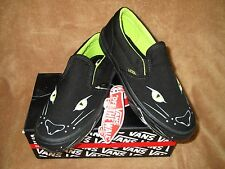 NEW VANS CLASSIC SLIP ON SKATE SHOES PANTHER SLIP BLK/LIME BOYS SZ  12.5, 1, 1.5