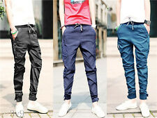 Mens Fashion Casual Solid Cuffed Jogger Slim Harem Pants Trousers Plus size