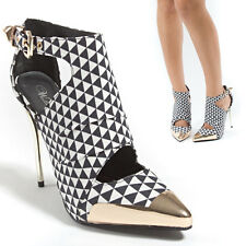 Black White Checkered Pointy Toe Gold Cap Cut Out High Heel Stiletto Pump Bootie