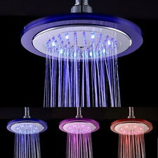 "8"" Romantic 7-Color LED Light / Temperature Sensor Rainfall Shower Head Bathroom"