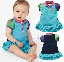2014 Summer New Arrival Patchwork Brand Name Polo Baby Girls Skirts for 2-18M
