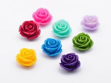 30pcs 8mm Synthetic Rose Flower Resin Pendant Carved Coral Loose Spacer Beads