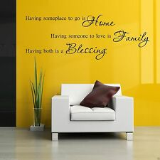 HOME FAMILY BLESSING Wall Art Sticker Lounge Quote Decal Mural Stencil Transfer2