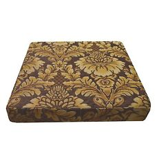 we57t Lt. Brown Lt. Gold on Brown Damask Flower Cotton 3D Box Seat Cushion Cover