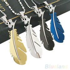 Latest Vogue Stainless Steel Silver Green Black Feather Chain Pendant Necklace