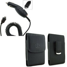 Car Charger + Vertical Leather Swivel Belt Clip Case for KYOCERA Cell Phones NEW