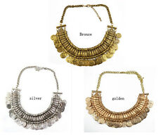 Hot New Design Carving Letter Coin Tassels Chunky Golden Choker Pendant Necklace