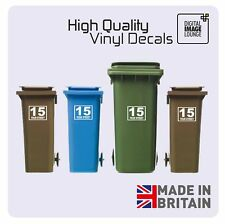 4 x WHEELIE BIN NUMBERS CUSTOM HOUSE AND ROAD/STREET NAME VINYL GRAPHIC STICKERS