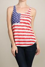July 4th Independence Day American Flag Print Raceback Patriotic Tank Top S-2XL