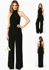 Women Lady Chiffon Casual Party Black Sleeveless Jumpsuit Halter Neck Rompers