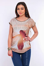 Women's Top Forest Print Boat Neck Short Sleeve Shirt Sizes 8-12 FHB19