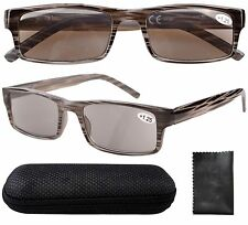 R026 Spring Hinge Striped Reading Glasses Men Sun Readers W/Case Cleaning Cloth