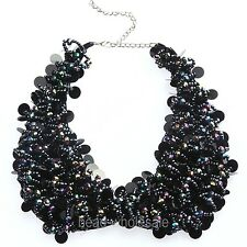 Women's Fashion Black Crystal Beads Bib Collar Necklace For Party
