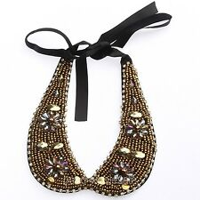Fashion Lady's Gold Glass Beads Rhinestone Bib Collar Necklace For Party