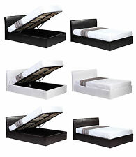 Ottoman Lift Up Storage 4ft6 Double Faux Leather Bed. Black or Brown