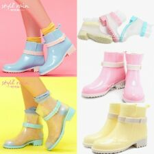 Girls Ankle Strappy Low heels Candy Colors Motorcycle Womens Riding Rain Boots