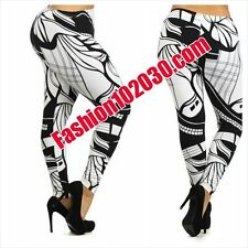 FUN AND FUNKY, SEXY, PLUS SIZE, BLACK, WHITE & ONE-SIZE, ABSTRACT PRINT LEGGINGS