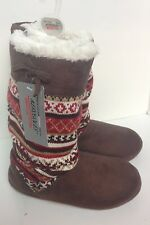 Aerosoles Brown Suede-Like Slippers Boots Southwestern Style Soft