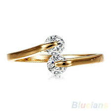 Fashion Women Crystal Engagement Wedding Party 9k Gold Plated Ring Size 6,7,8,9