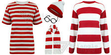 Mens Where Is Red White Stripe Fancy Dress T shirt  Hat Glasses Waldo Jumper