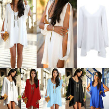 Women Summer Casual V-Neck Sleeveless Party Evening Cocktail Mini Chiffon Dress