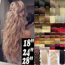 "18 24 28"" red black brown blonde clip in hair extensions one piece 1/2 full head"