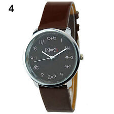Chic Women Funny Math Dial Leather Bracelet Quartz Analog Boys Cute Wrist Watch
