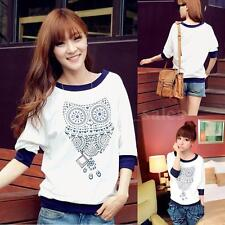 Women Casual Half Sleeve T-shirt Batwing White Casual Owl Printed Shirt Blouse