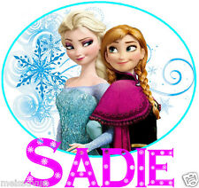 ELSA ANNA FROZEN SISTERS PERSONALISED IRON ON TRANSFER for ANY COLOURED MATERIAL