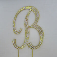 Rhinestone GOLD Crystal Covered Monogram Letter Initial Wedding Cake Topper