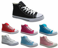 WOMENS CANVAS LADIES FLAT LACE UP  HIGH HI TOP PUMPS TRAINERS SHOES SIZE UK 3-8