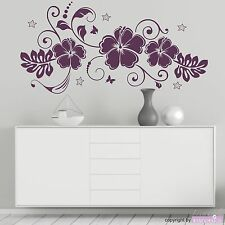 Wall Decal Sticker Tattoo Hibiscus Dream Flowers Blossoms Stars Home Decor