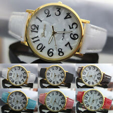 Mens Womens Chic Fashion Geneva Shell Face Style Faux Leather Quartz Wrist Watch