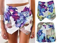 Fashion Girls Summer Lotus Flower Asymmetric Tiered Shorts Hot Skorts Skirts-S