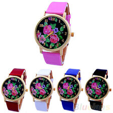 Hot Lady Girls Rose Flower Dial Leather Strap Quartz Analog Romantic Wrist Watch