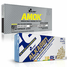 Amok + Alkagen 60-180 Caps. Pre-Workout + Post-Workout Energy + Recovery Pills