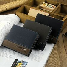 Mens Stylish Leather Wallet Card Clutch Cente Bifold Purse Pocket Money Clip