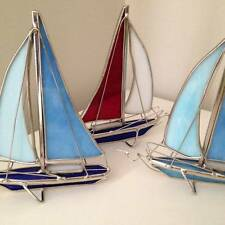 New Stylish Glass Ornamental Sailing Boat - Choice of 3 colours - Nautical Gift