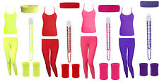 Womens Neon Bright Party Sets Legging Vest Top Bead Necklace Headband Wristband