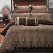 Janet 9PC Charcoal Brown and Beige Contemporary Jacquard Design Bed in a bag