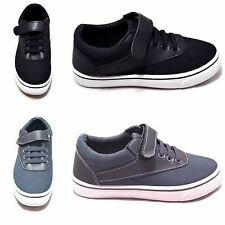 Boys Kids Youth Sneaker w/ Velcro Low Top Fashion Skate Shoes Black & Grey NWOB